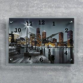 Часы настенные прямоугольные 'Набережная', 25х35 см микс Ош