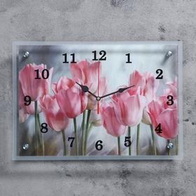 """Часы настенные, серия: Цветы, """"Тюльпаны"""", 25х35  см, микс"""