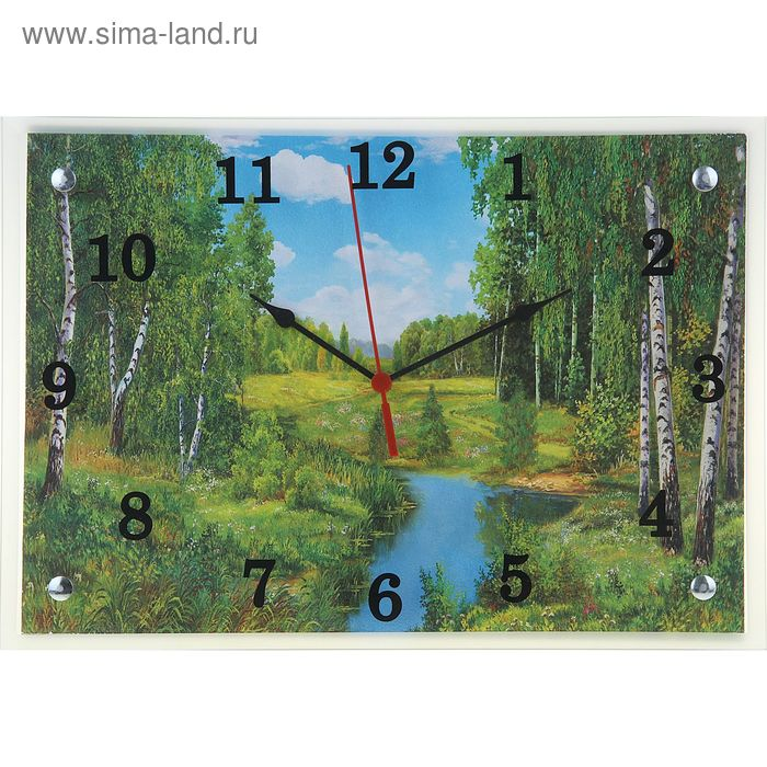 """Часы настенные прямоугольные """"Река в лесу"""", 25х35 см"""