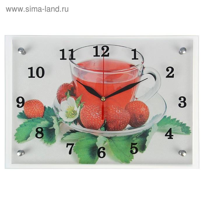"""Часы настенные прямоугольные """"Напиток и клубника"""", 25х35 см микс"""