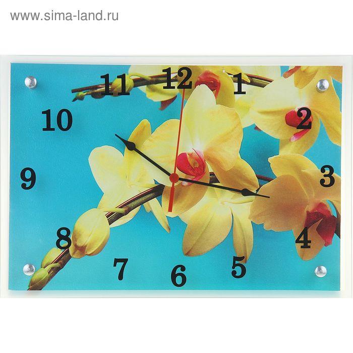 """Часы настенные прямоугольные """"Желтая орхидея"""", 25х35 см"""