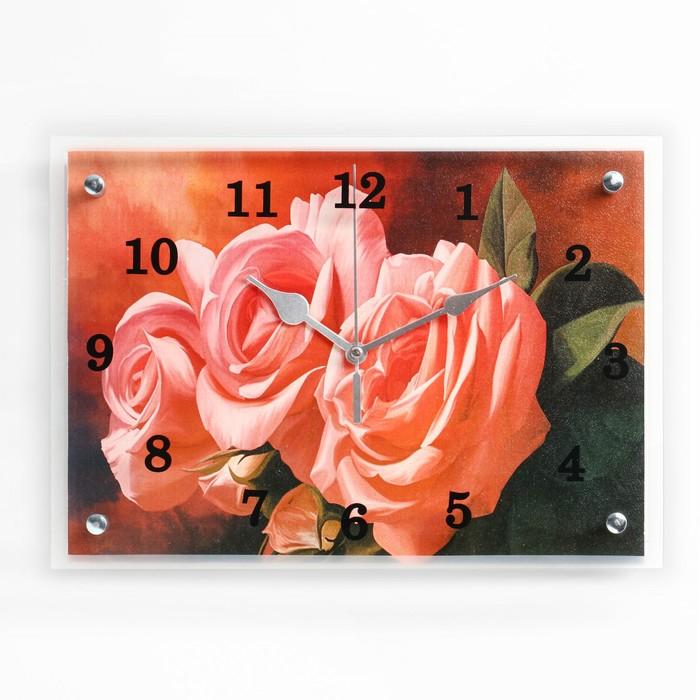 """Часы настенные прямоугольные """"Три розы"""", 25х35 см"""