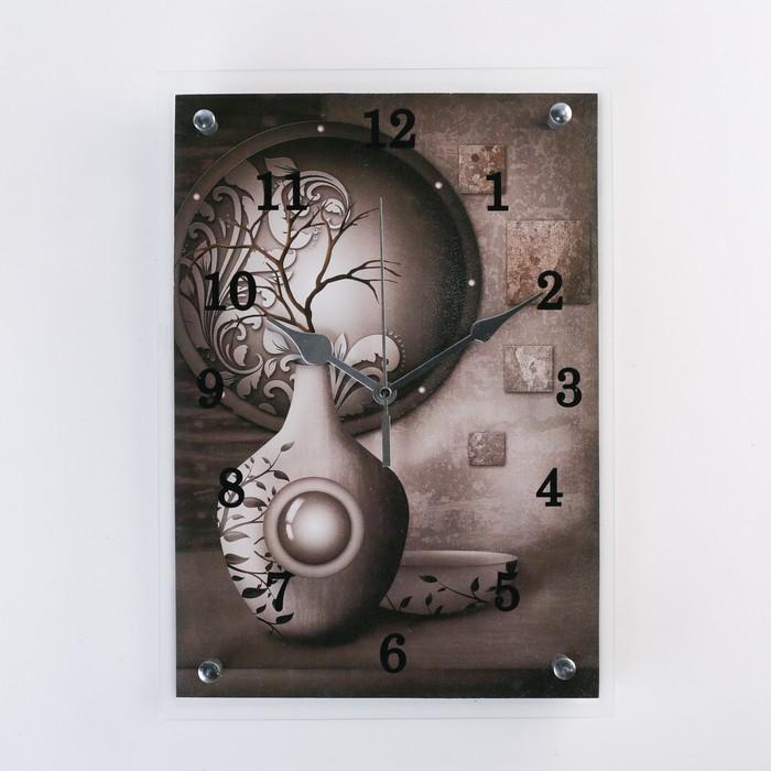"Часы настенные прямоугольные ""Серая ваза"", 25х35 см"