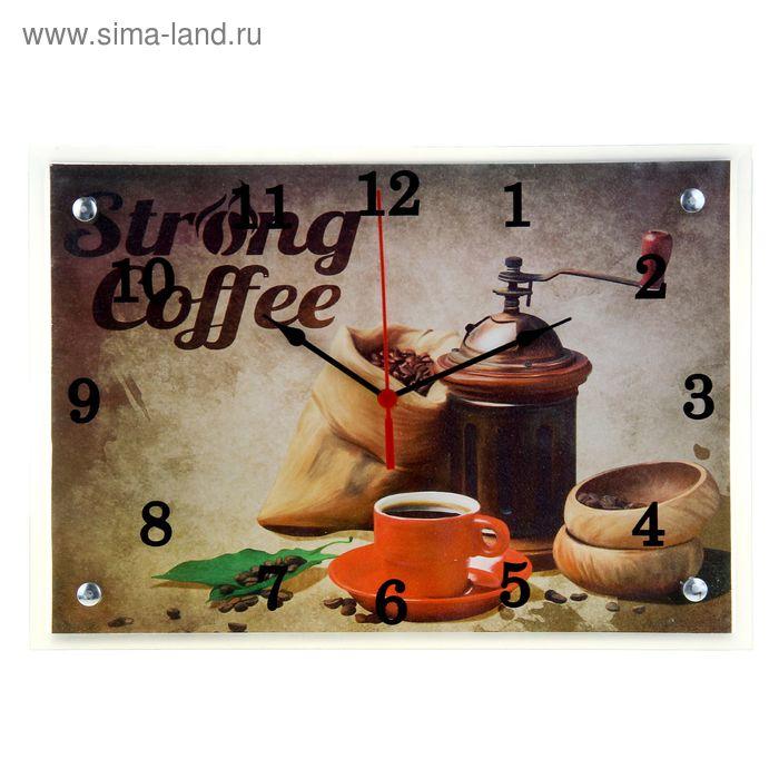 """Часы настенные прямоугольные """"Strong Coffee"""", 25х35 см"""
