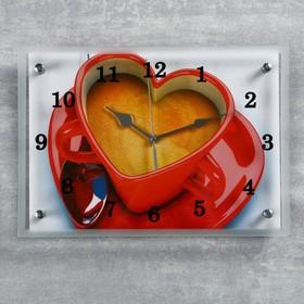"""Часы настенные, серия: Кухня, """"Чашка кофе сердце"""", микс 25х35 см"""