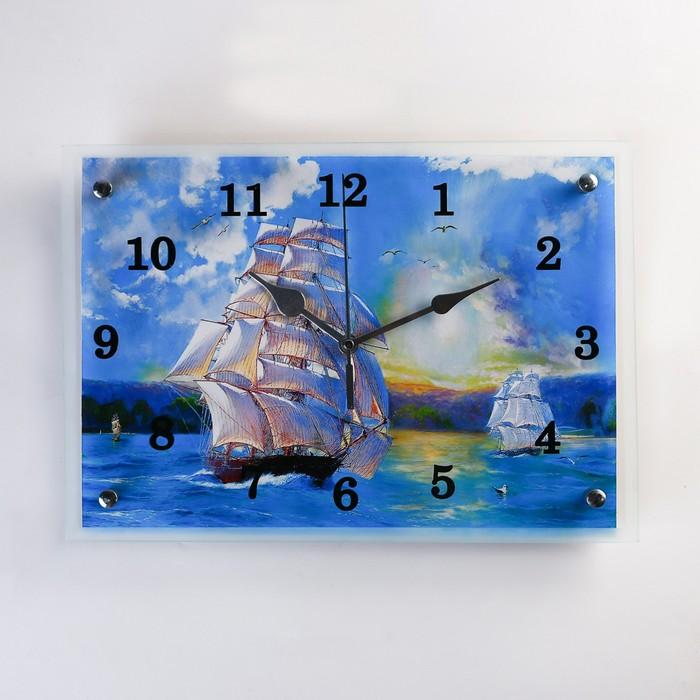 """Часы настенные прямоугольные """"Корабли"""", 25х35 см микс"""