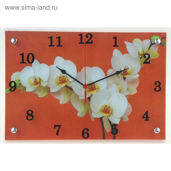 """Часы настенные прямоугольные """"Белая орхидея на красном фоне"""", 25х35 см"""