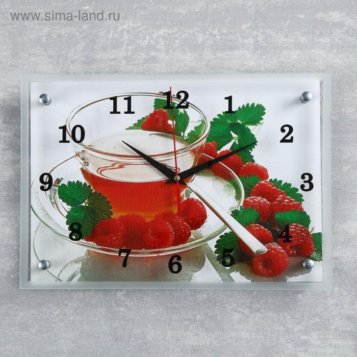 """Часы настенные прямоугольные """"Чай с малиной"""", 25х35 см микс"""