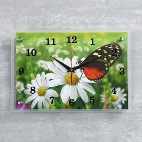 """Часы настенные, серия: Цветы, """"Бабочка и ромашки"""", 25х35  см, микс"""