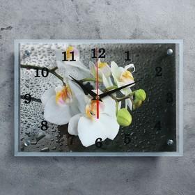 """Часы настенные, серия: Цветы, """"Белая орхидея"""", 25х35  см, микс"""