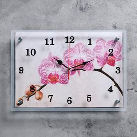 """Часы настенные, серия: Цветы, """"Веточка орхидеи"""", 25х35  см, микс"""