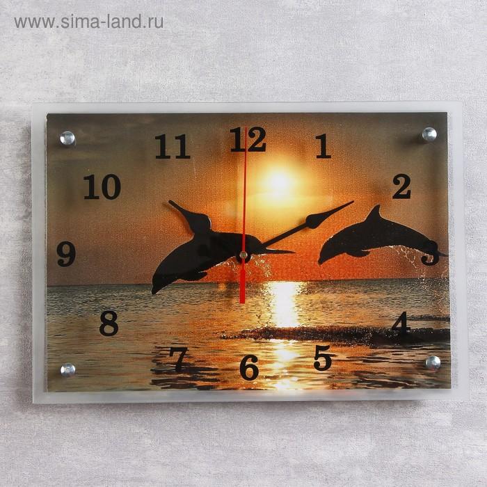 """Часы настенные прямоугольные """"Дельфины на закате"""", 25х35 см микс"""