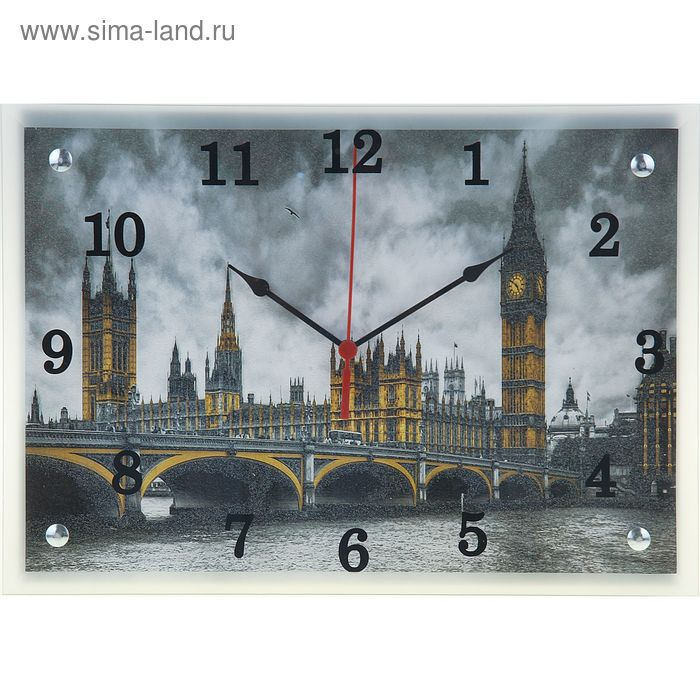 """Часы настенные прямоугольные """"Биг Бен и Вестминстерский Мост"""", 25х35 см"""
