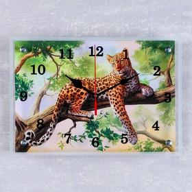 """УЦЕНКА Часы настенные прямоугольные """"Леопард на ветке"""", 25х35 см - копия"""