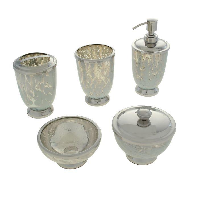 """Набор для ванны """"Совершенство"""", 5 предметов: дозатор, мыльница, 3 стакана"""