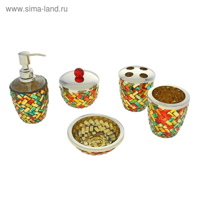 """Набор для ванны """"Мозаика"""", 5 предметов: дозатор, мыльница, 3 стакана"""