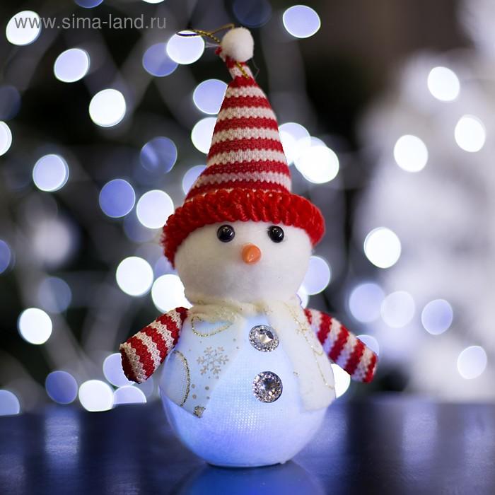 """Игрушка световая """"Снеговик с руками"""" 9х22 см, 1 LED RGB, БЕЛО-КРАСНЫЙ"""