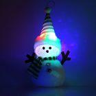 """Игрушка световая """"Снеговик в полосатой шапочке"""" 16х23 см, 1 LED RGB, ЗЕЛЁНЫЙ"""
