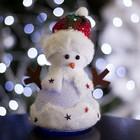"""Игрушка световая """"Праздничный снеговик"""" 15х20 см, 1 LED RGB, СЕРЕБРЯНЫЙ"""