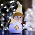 "Игрушка световая ""Снеговик со снежинкой"" 15х25 см, 1 LED RGB, БЕЖЕВЫЙ"