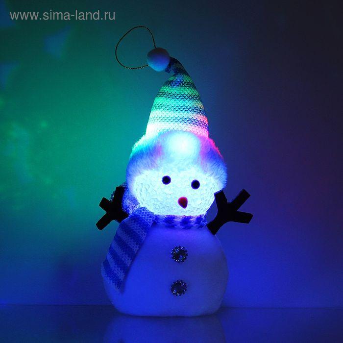 """Игрушка световая """"Снеговик в полосатой шапочке"""" 16х23 см, 1 LED RGB, СИНИЙ"""
