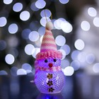 "Toy light ""Snowman"" (batteries included) 5х13 cm, 1 LED RGB, PINK"