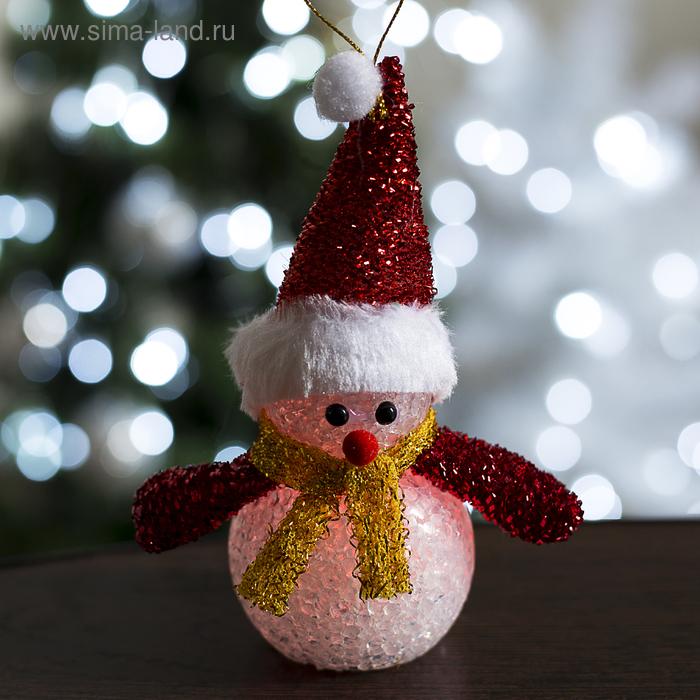 "Игрушка световая ""Снеговик новогодний"" (батарейки в комплекте) 7х15 см, 1 LED RGB, КРАСНЫЙ"