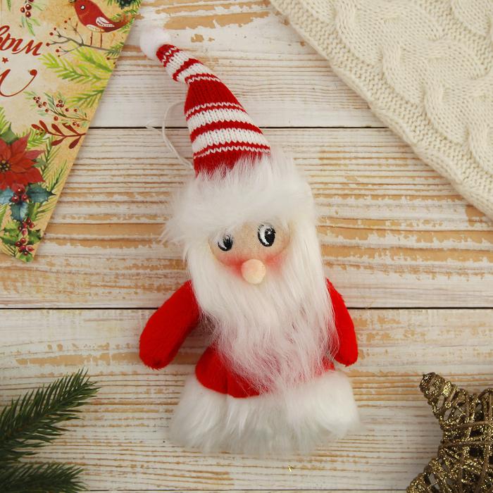 """Мягкая ёлочная игрушка """"Дед Мороз в свитерке-платье"""""""