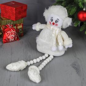 """Мягкая игрушка """"Снеговик - длинные ножки"""" сидит 42 см белый"""