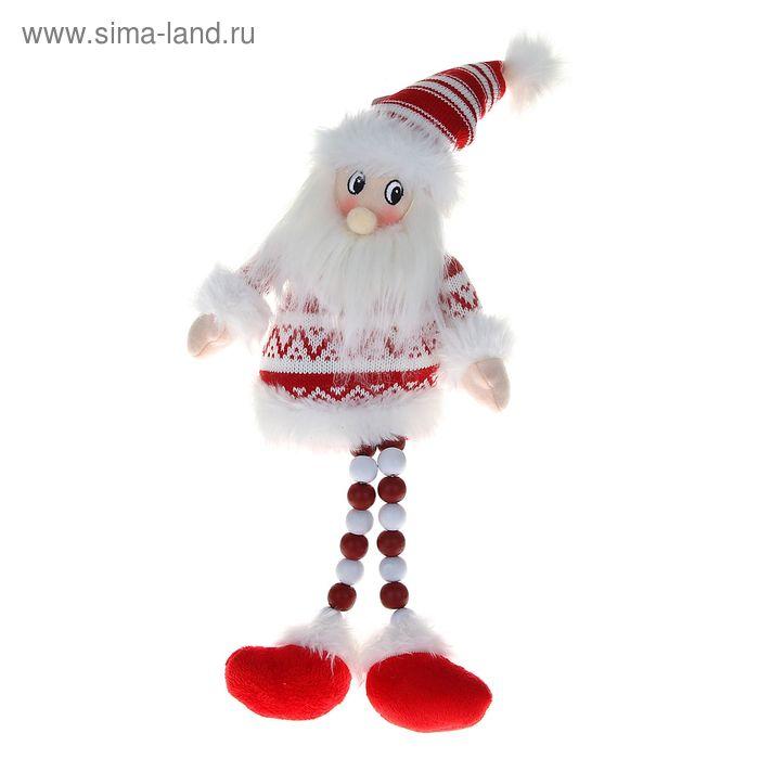 """Мягкая игрушка """"Дед Мороз"""" (бело-красный свитерок, ножки-бусины)"""