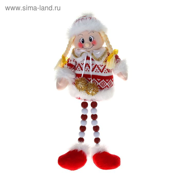 """Мягкая игрушка """"Девочка"""" (бело-красный свитерок, ножки-бусины)"""