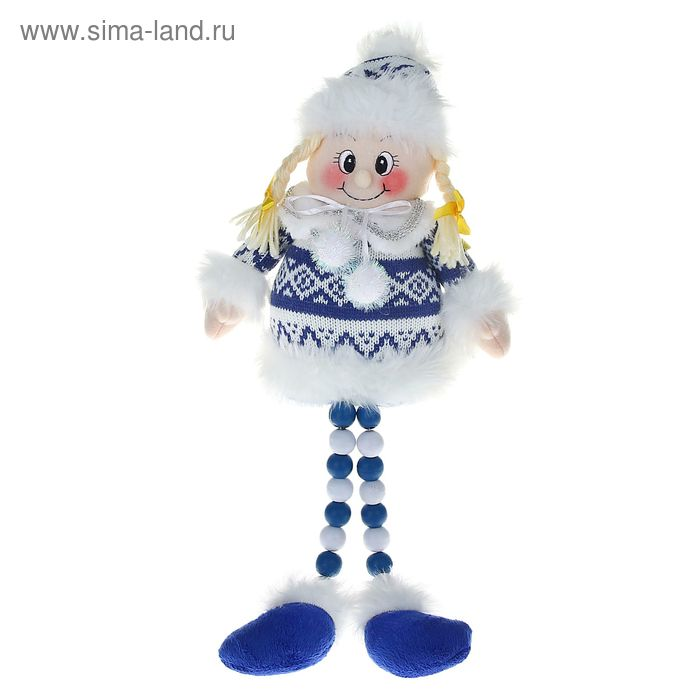 """Мягкая игрушка """"Девочка в бело-синем свитерке"""" (ножки-бусинки)"""