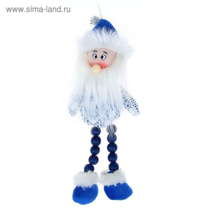 """Мягкая игрушка """"Дед Мороз"""" (бело-синий, кружевной)"""