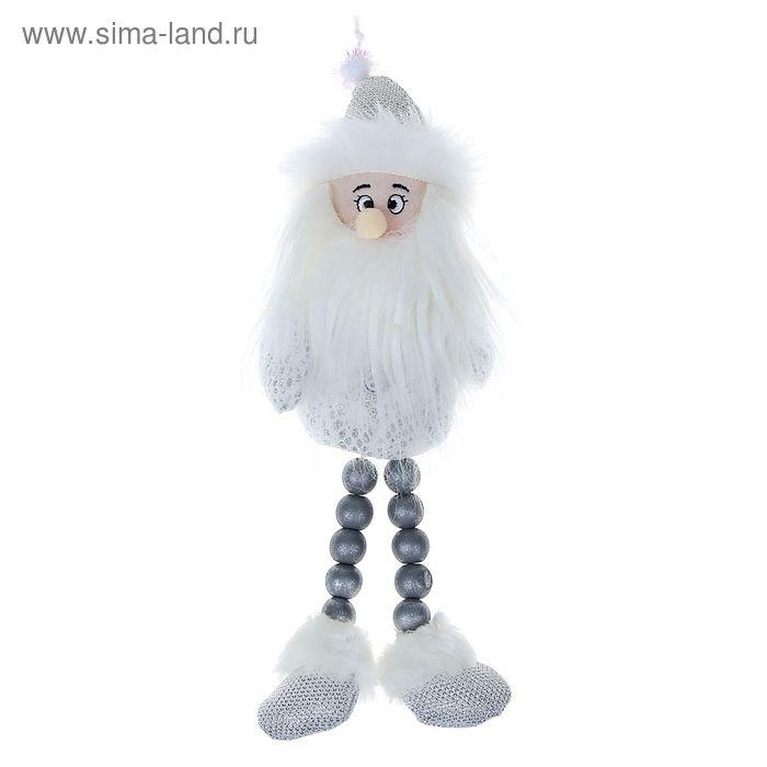 """Мягкая игрушка """"Дед Мороз"""" белые кружева, ножки-бусины"""