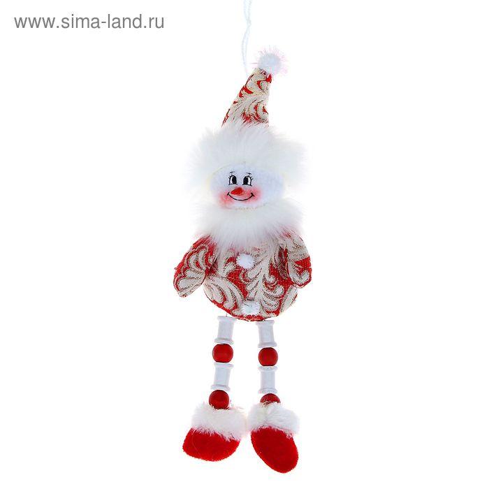 """Мягкая игрушка """"Снеговик"""" красные кружева, ножки-бусины"""