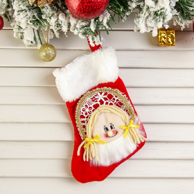 """Sock for gift """"the snow maiden"""" (red, fluffy)"""