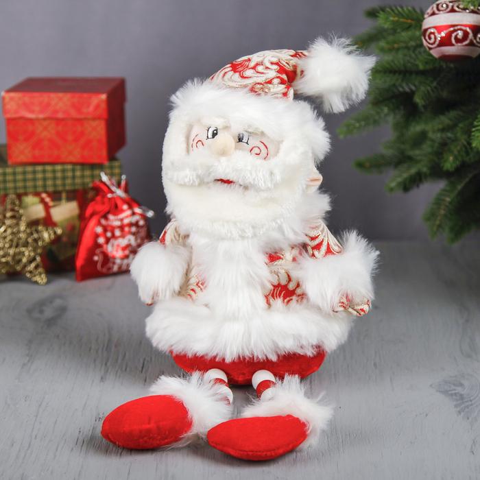 """Мягкая игрушка """"Дед Мороз"""" (кружевной, красный, ножки-бусины)"""