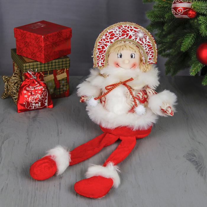 """Мягкая игрушка """"Снегурочка"""" (красная, кружевная, длинные ножки)"""
