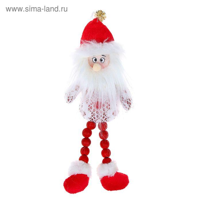 """Мягкая игрушка """"Дед Мороз"""" белые кружева, красные ножки-бусины"""
