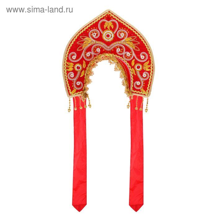 """Карнавальный кокошник """"Узоры"""", цвет красный"""