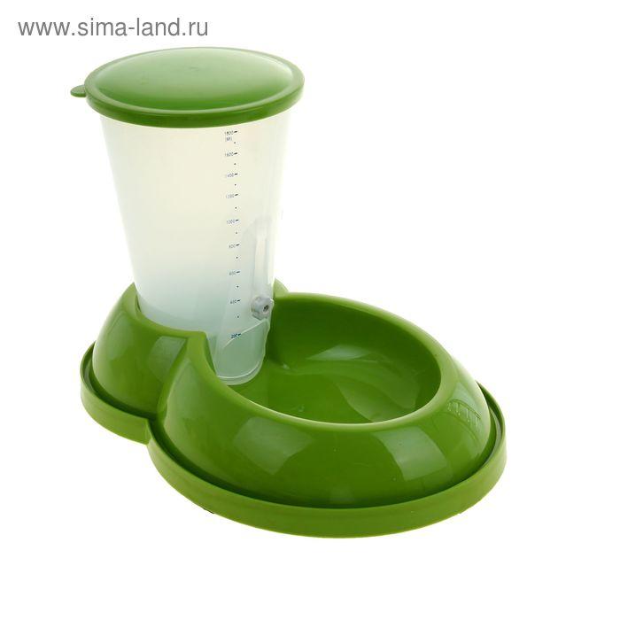 Миска с контейнером для корма (объем контейнера 1800 мл), зеленый