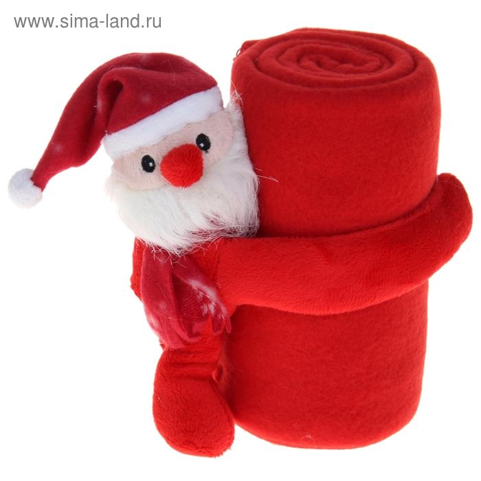 """Набор подарочный """"Этелька"""" НГ 2 пр Санта в колпачке, плед красный 75*100 см, флис"""