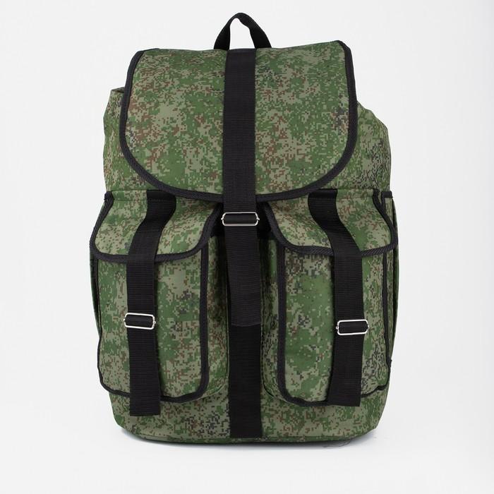 """Рюкзак туристический """"Камуфляж"""", 1 отдел, 3 наружных кармана, объём - 55л, цвет хаки"""