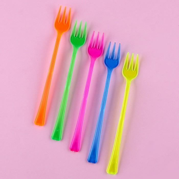 Набор пластиковых вилок (набор 12 шт), цвета МИКС