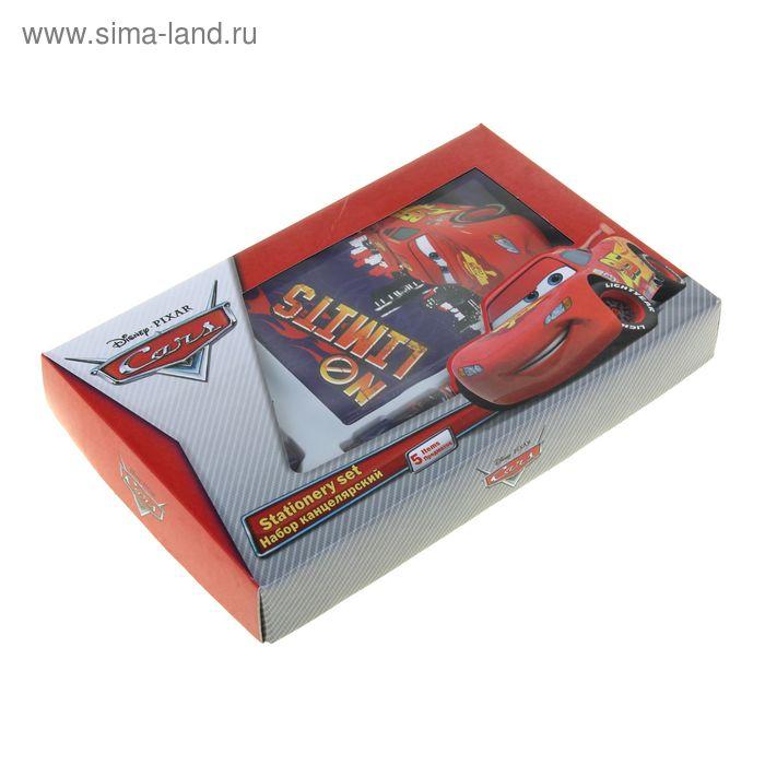 Набор канцелярский Cars в подарочной коробке: ноутбук 7БЦ, ручка автомат, карандаш чёрнографитный с ластиком, точилка