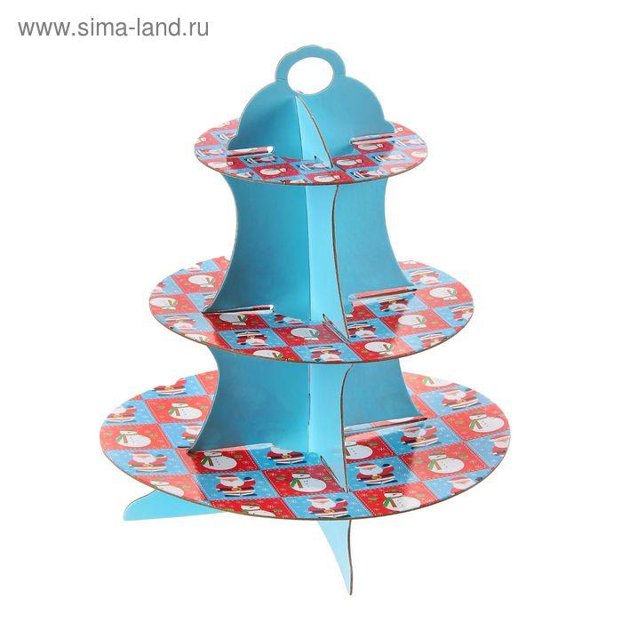 """Подставка для пирожных трехъярусная """"Снеговичок"""""""