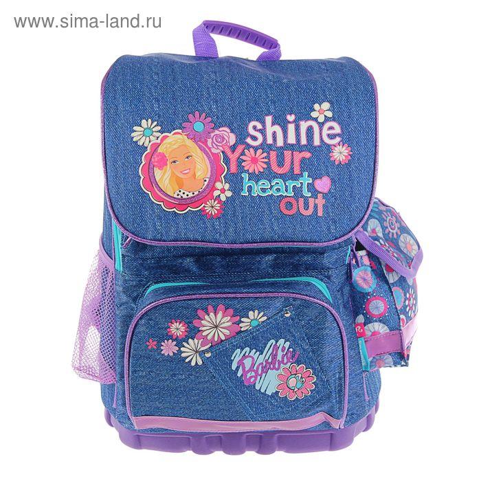 Ранец стандарт Barbie 35*26,5*13 эргономичная спинка, для девочки, синий