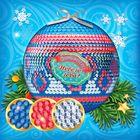 """Новогодний ёлочный шар пайетками с мини-открыткой """"Капельки"""""""