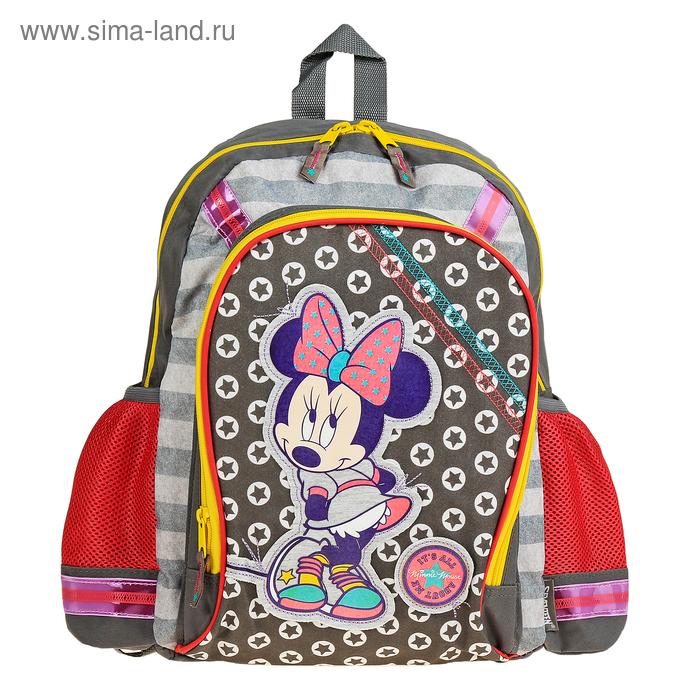 Рюкзак школьный эргономичная спинка Disney Minnie Mouse 40*30*13, для девочки, серый