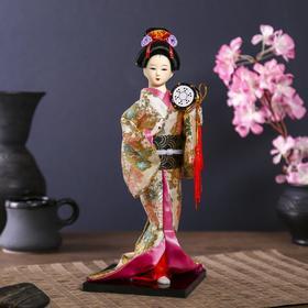 Кукла коллекционная 'Гейша в шелковом кимоно с барабаном' Ош